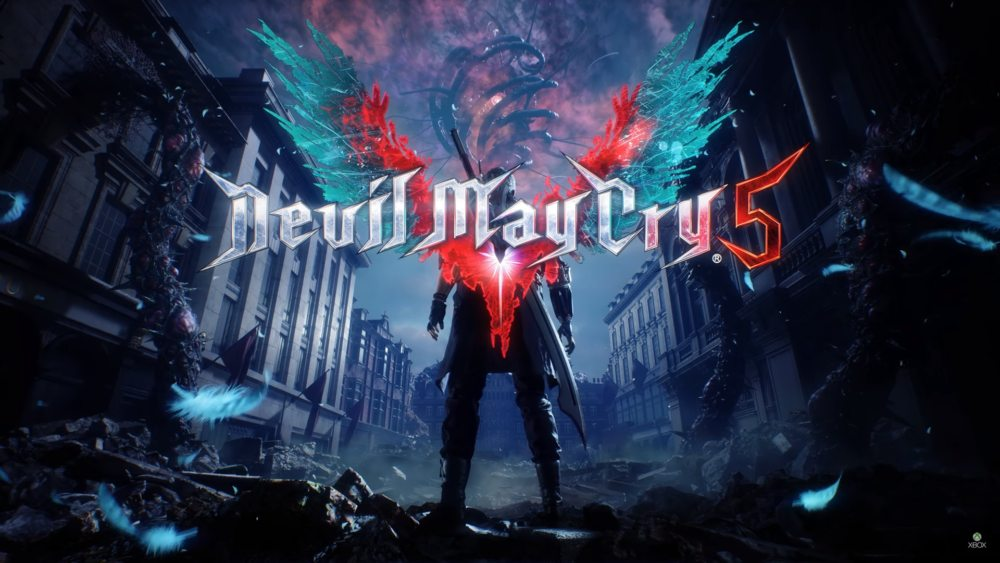 Logo de Devil May cry 5 con Nero de espaldas.