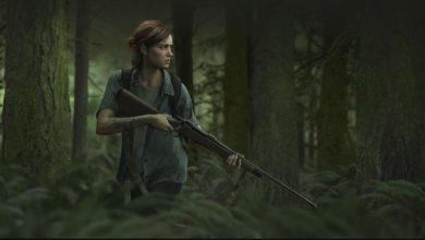 Ellie en el bosque en The Last of Us Part 2