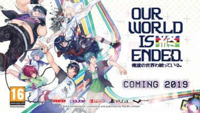 Banner de Our World Is Ended que muestra a Judgment 7, los personajes principales del porpio juego.