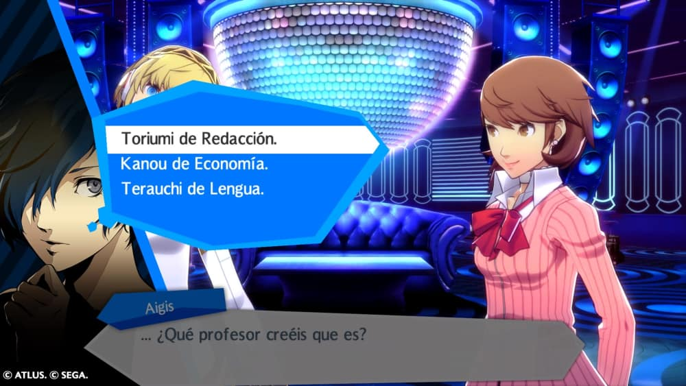 Diálogo en Persona 3: Dancing in Moonlight