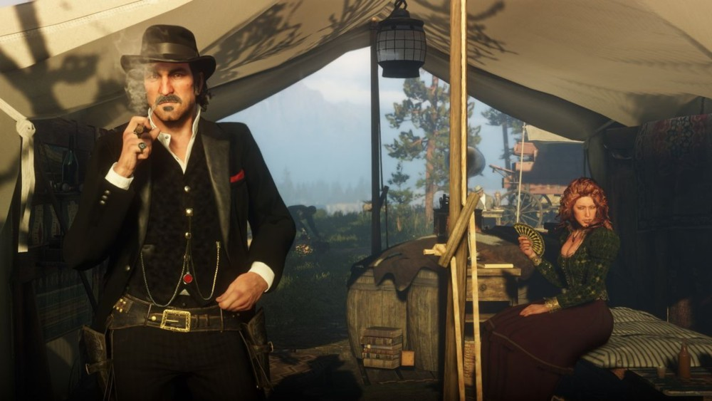 Molly y Dutch en el primer campamento de Red Dead Redemption 2