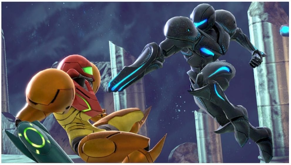 Samus luchando contra Samus Oscura en Smash Bros Ultimate