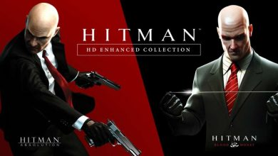 Logo Hitman HD Enhanced Collection con el Agente 47 de fondo