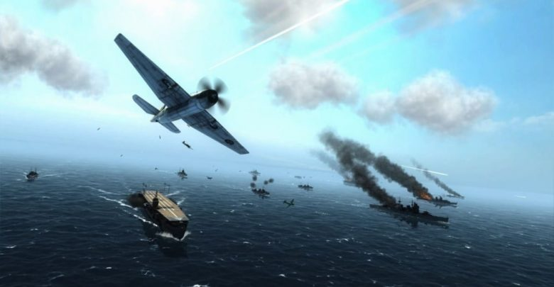 Imagen de una batalla entre avionetas y portaaviones en Air Conflicts Collection.