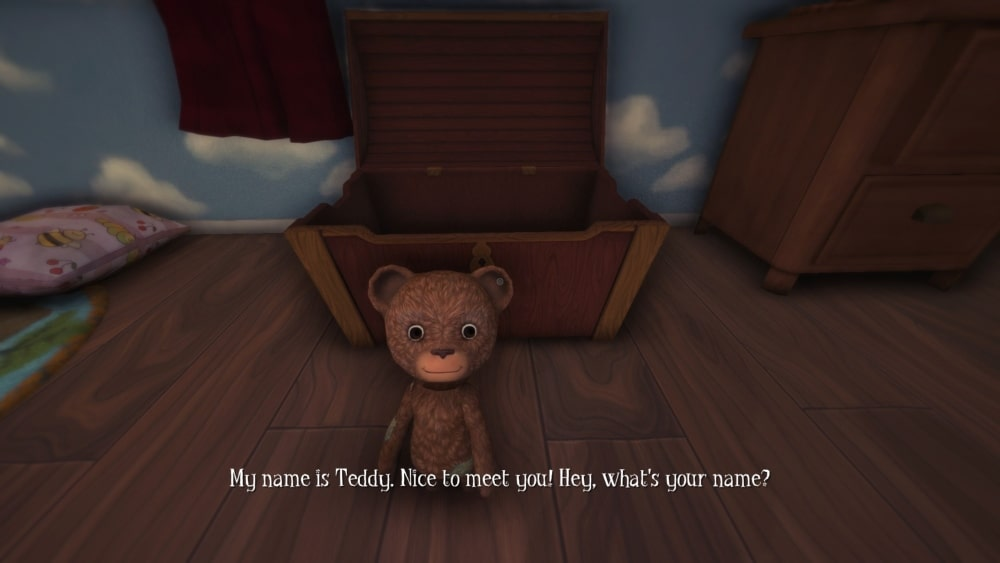 Primer plano de Teddy en Among the Sleep