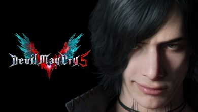 Primer plano de V en Devil May Cry 5