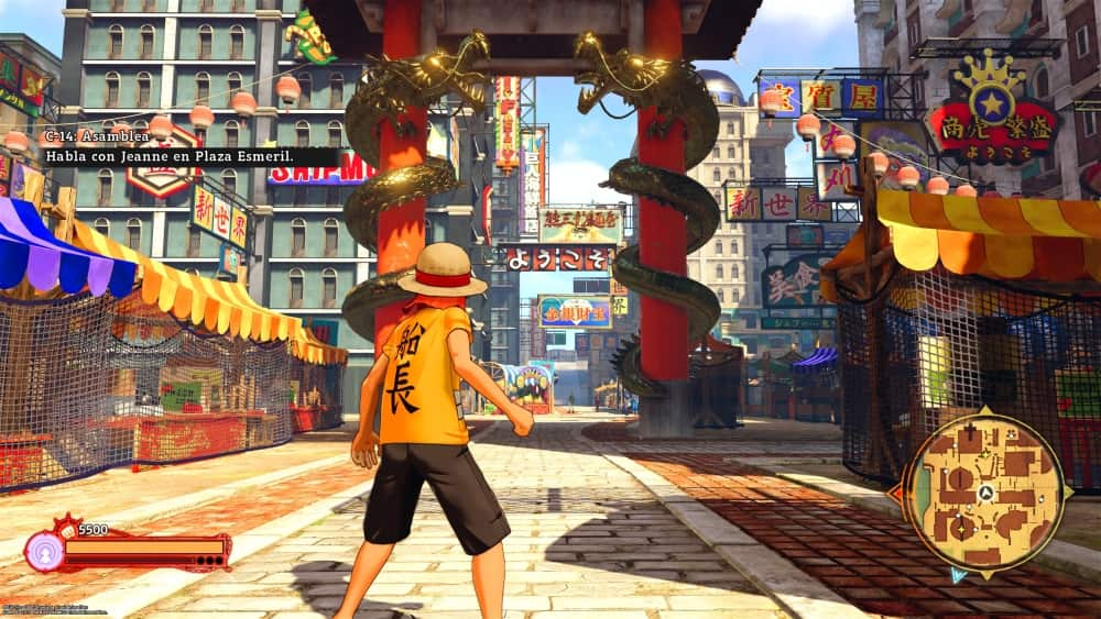 Luffy en una de las ciudades de One Piece World Seeker