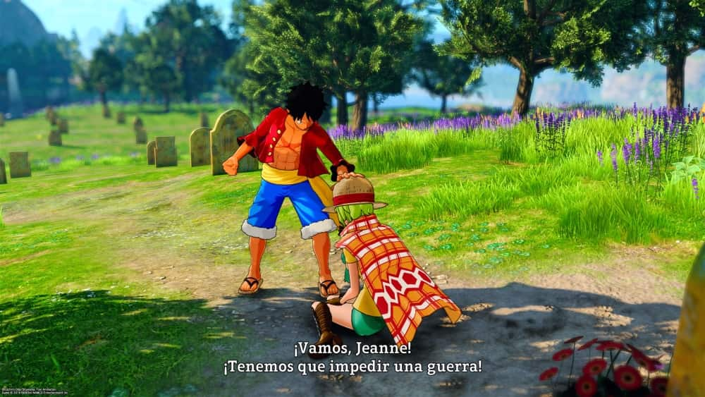 Luffy le da su sombrero a Jeanne en One Piece World Seeker