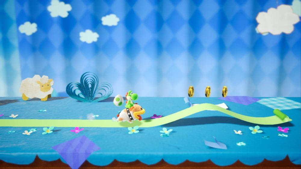 Un nivel con Poochy en Yoshi's Crafted World.