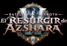 Logotipo sobre fondo negro de El Resurgir de Azshara, una gran actualización de World of Warcraft: Battle for Azeroth.