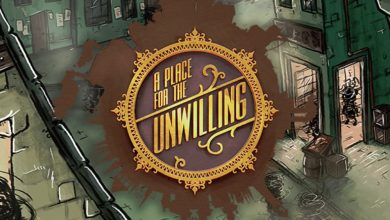 Logotipo de A Place for the Unwilling en forma de sello de carta y, de fondo, la ciudad del juego.